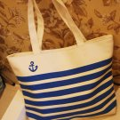 Women Canvas Tote Bag Blue White Lines Model WCT1123