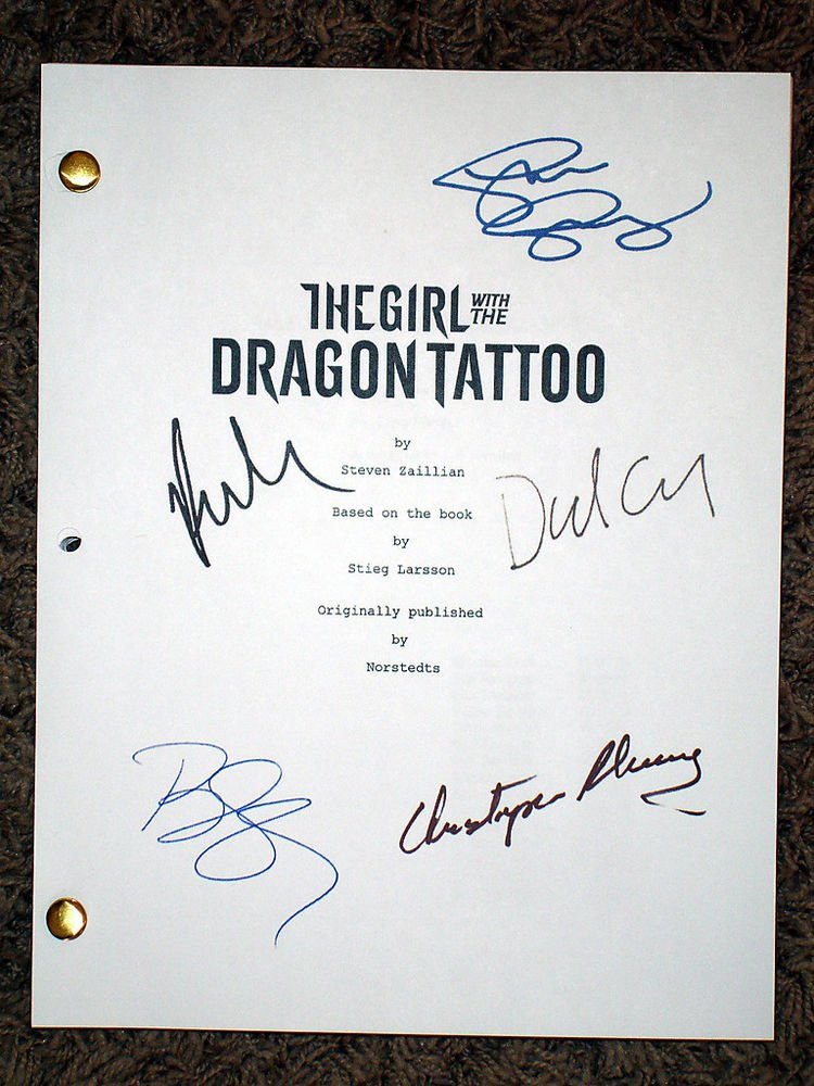 ROONEY MARA DANIEL CRAIG SIGNED X5 THE GIRL WITH THE DRAGON TATTOO SCRIPT RPT