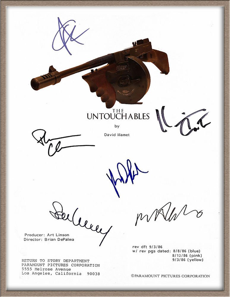 "KEVIN COSTNER ROBERT DENIRO ANDY GARCIA SIGNED X6 ""THE UNTOUCHABLES"" SCRIPT RPT"