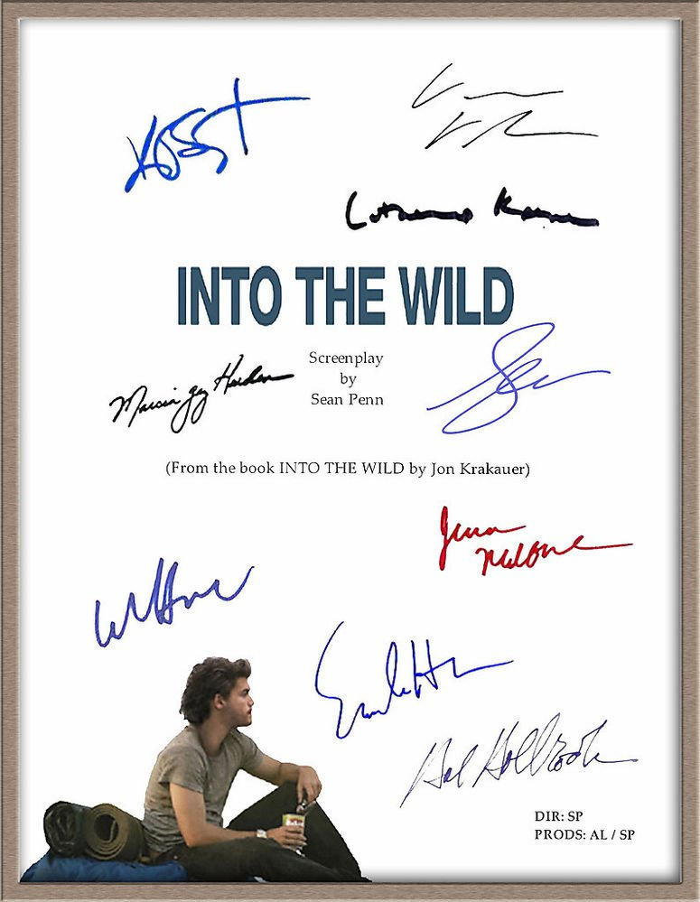 "EMILE HIRSCH HAL HOLBROOK KIRSTEN STEWART SIGNED X9 ""INTO THE WILD"" SCRIPT RPT"