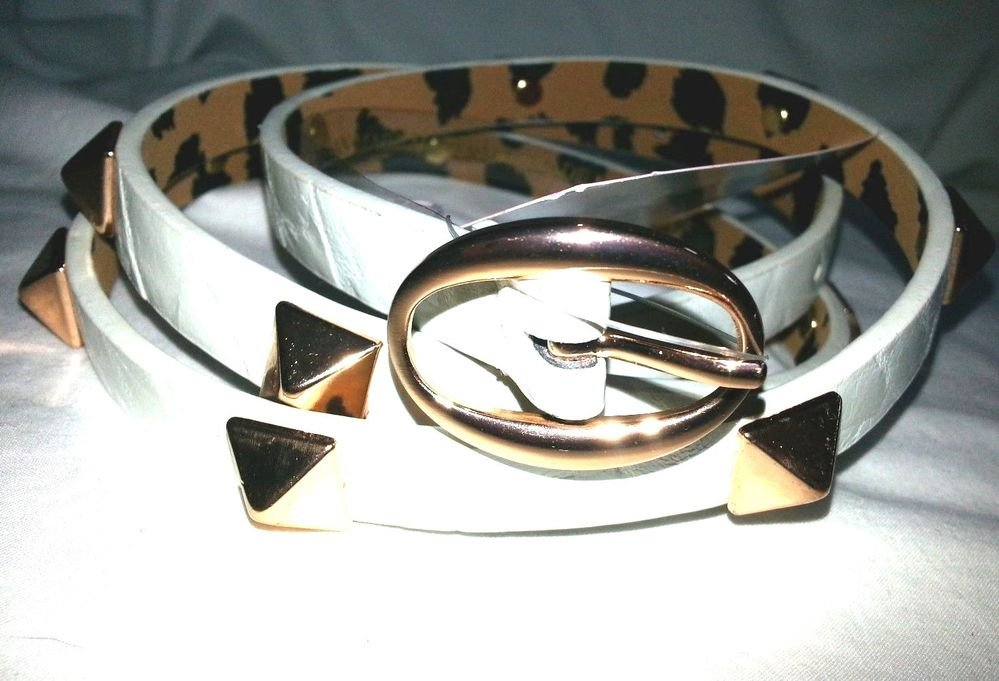 Betsey Johnson Thin Copper Pyramid Studded Pearl Belt -Sz Med or Lg-NWT-SRP: $38