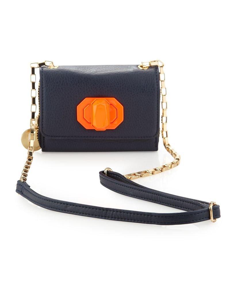 Deux Lux  Handbag Neon Jules Turn-Lock Mini Messenger Bag Navy or Putty-NWT
