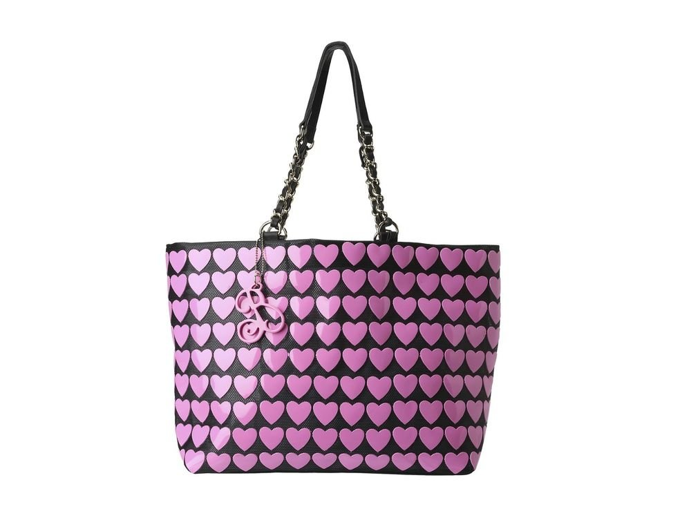 Betsey Johnson Handbags Plastik Hearts Tote Bag Hibiscus Pink/Black-NWT-RP: $88