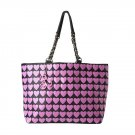 Betsey Johnson Handbags Plastik Hearts Tote Bag Hibiscus Pink/Black-NWT-RP: $88