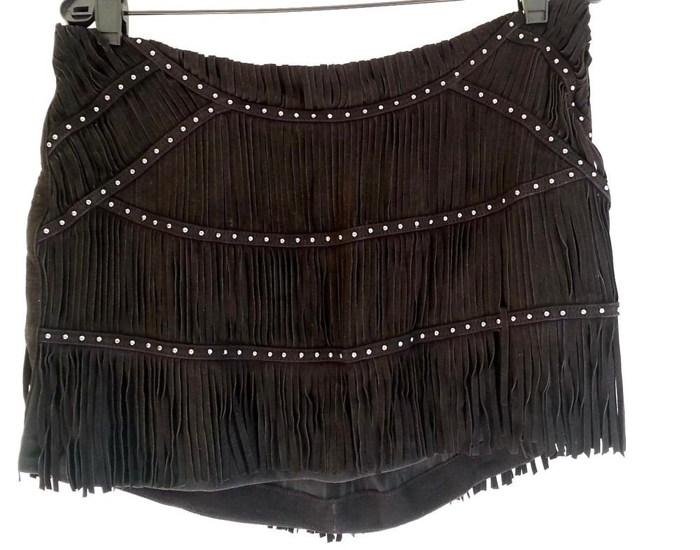Haute Hippie Suede Fringe Studded Mini Skirt in Black-Size M, L-NWT-RP: $665