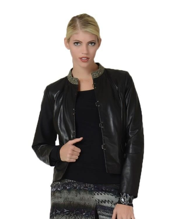 Badgley Mischka Vicki Jeweled Collar Leather Jacket in Black NWT-RP: $650.00