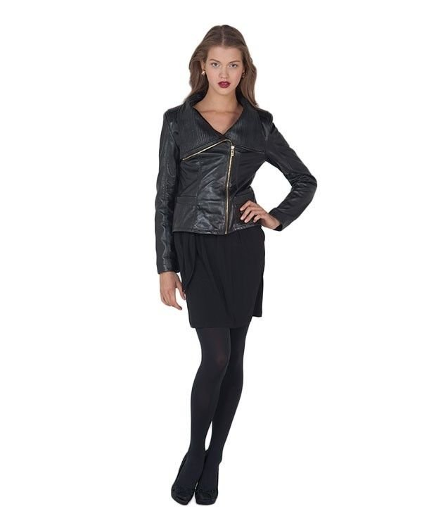 Badgley Mischka Mel High Collar Leather Moto Jacket Black-Sz XL-NWT-RP: $495.00