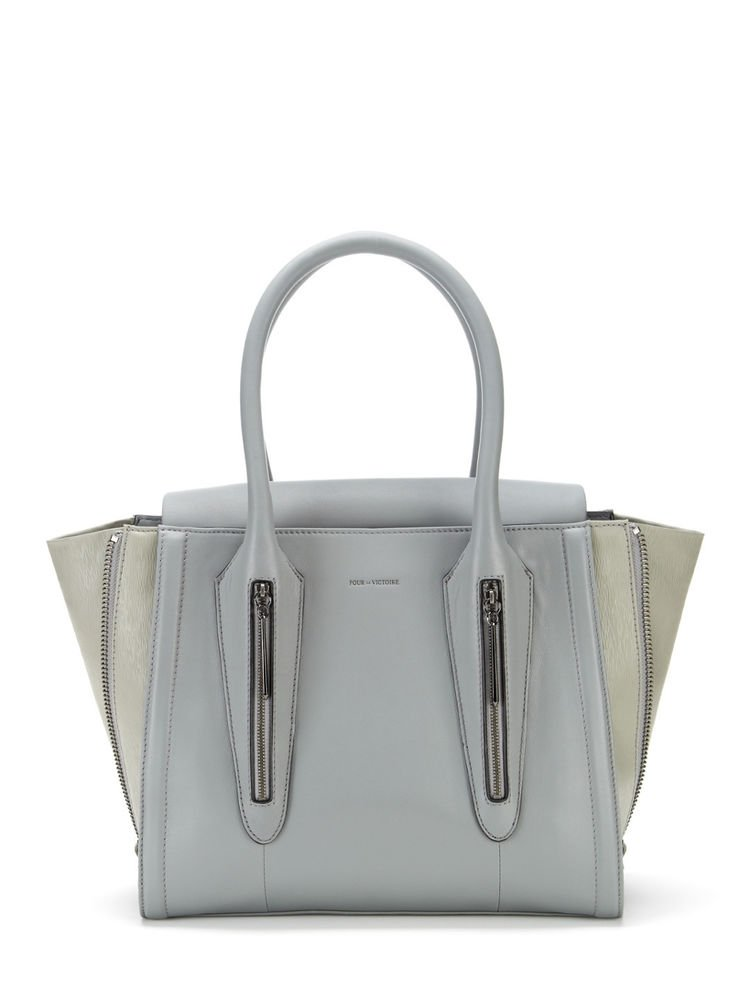 Pour La Victoire Handbag Leather Riche Tote Bag in Light Steel Grey-NWT-RP: $445