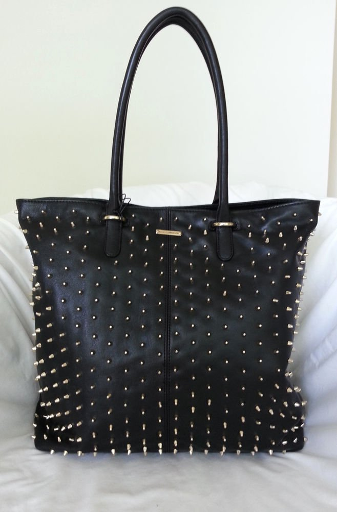 Rebecca Minkoff Handbag Leather Lovers Tote in Black w/Gold Spikes-NWT-RP:$595