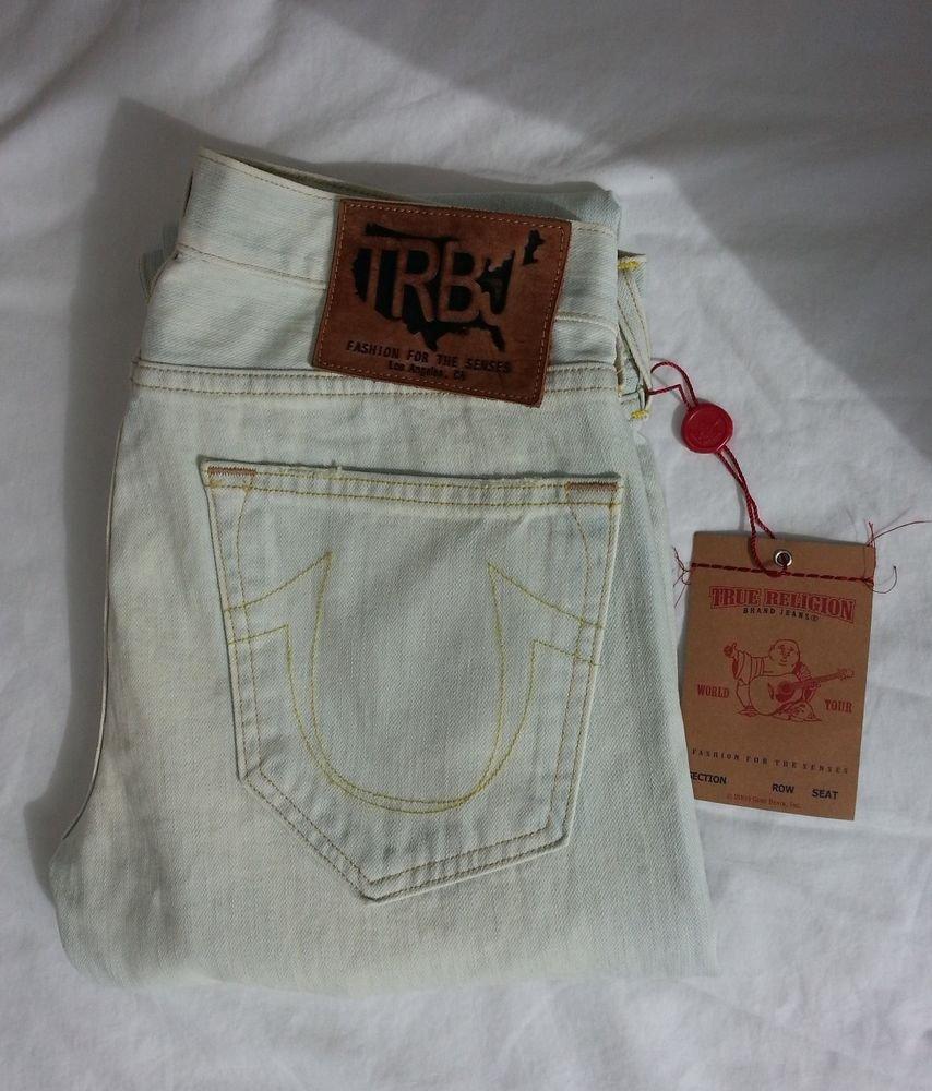 TRUE RELIGION GENO PHOENIX Straight Jeans Fisher (light blue) Mens 30 x 33
