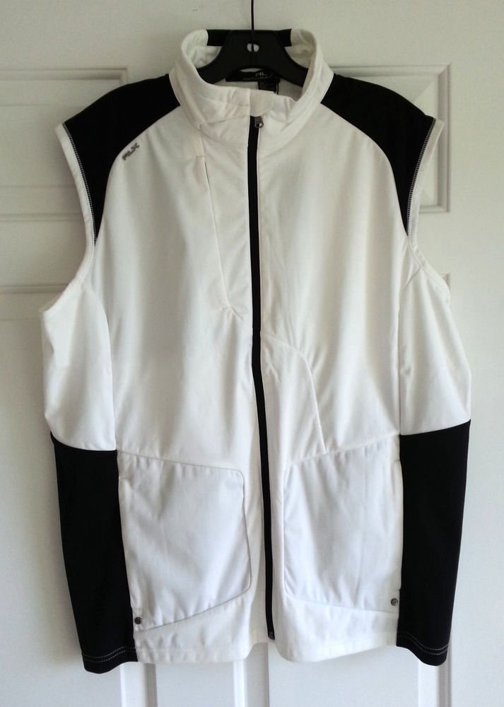RLX Golf Vest Jacket Full-zip MRLX Golf in White/Black-NWT-Size L-RP: $145