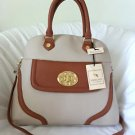 EMMA FOX Handbag Sarnac Dome Top Satchel/Shoulder Bag Caramel/Beige-NWT-RP:$298
