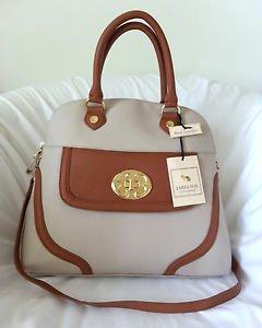 EMMA FOX Handbag Sarnac Dome Top Satchel/Shoulder Bag Caramel/Beige-NWT-RP:$298