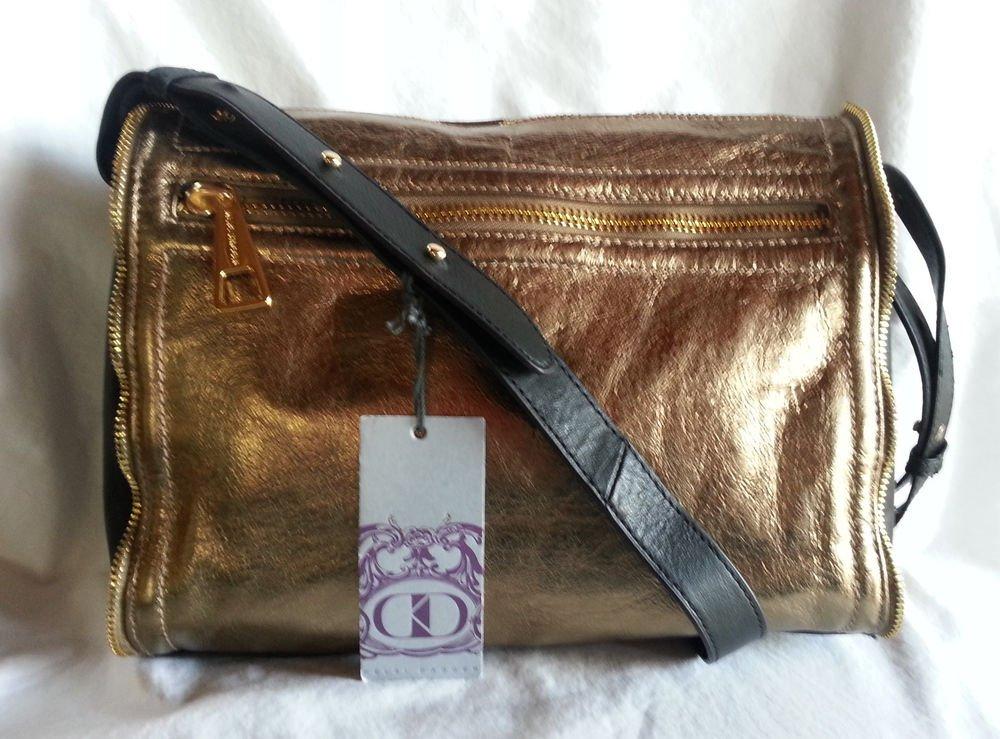 Kelsi Dagger Julie Crossbody Gold Leather w/Black trim Bag Handbag-NWT-SRP $228
