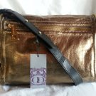 Kelsi Dagger Julie Crossbody Gold Leather w/Black trim Bag Handbag-NWT-SRP $228