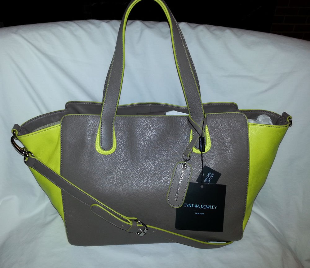 Cynthia Rowley Leather Tote/Shoulder Bag in Chocolate Brown & Neon Yellow- NWT
