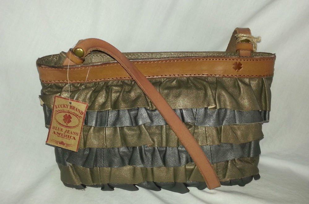 LUCKY BRAND PICKFARE RUFFLE LEATHER WESTERN METALLIC CROSSBODY BAG-NWT-SRP:$149