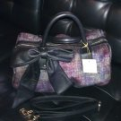 DEUX LUX HANDBAG - MULTI-COLOR FABRIC BOWLER BAG WITH LARGE BOW  NWT