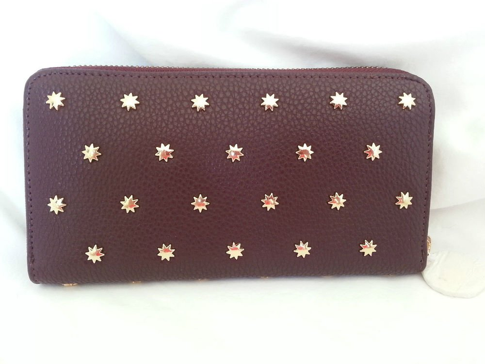 Deux Lux Wallet Shiny Star Gazer Zip Around Taupe, Purple, Teal, Grey-NWT-RP:$70