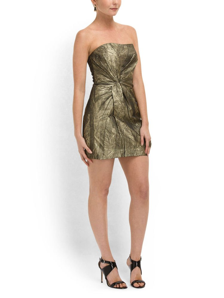 Haute Hippie Dress Strapless Twist Front in Gold/Black-Size S, M, L-NWT-RP:$465