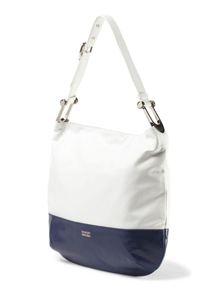 Badgley Mischka Handbag Nadia Nappa Shine Hobo in Blue or Brown-NWT- SRP: $395