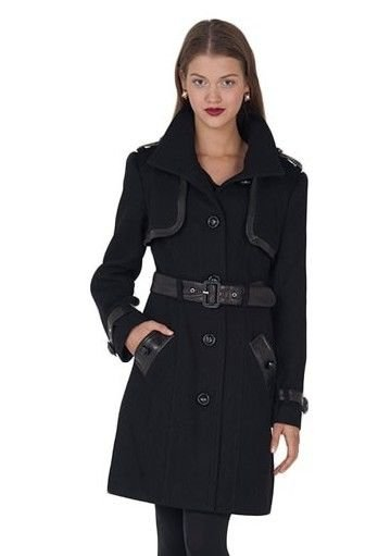 Badgley Mischka Liv Stand Collar Wool Coat in Black-NWT-RP: $495.00