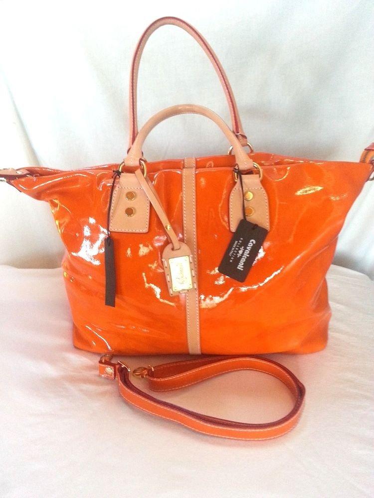Cavalcanti Liquid Patent Leather Shoulder/Crossbody Bag in Pumpkin-NWT-Italy