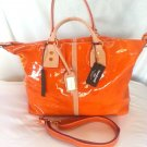 Cavalcanti Liquid Patent Leather Shoulder/Crossbody Bag in Pumpkin-NWT-Italy