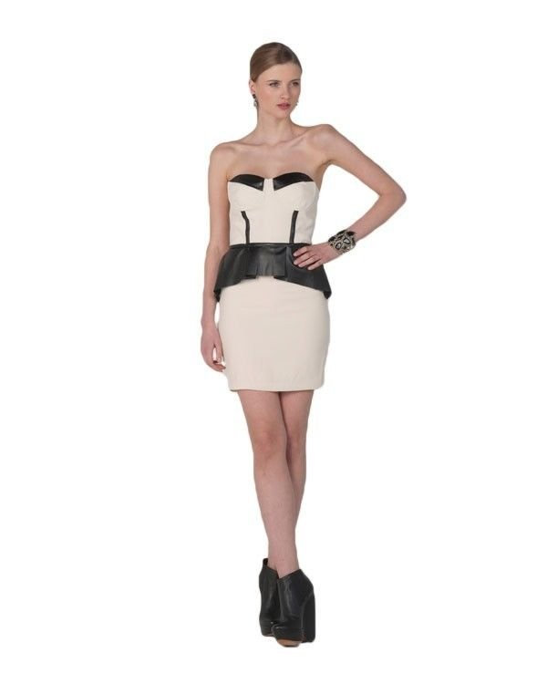 Mark  James Dress Color Block Corset Peplum Dress in Ivory/Black NWT-RP: $325