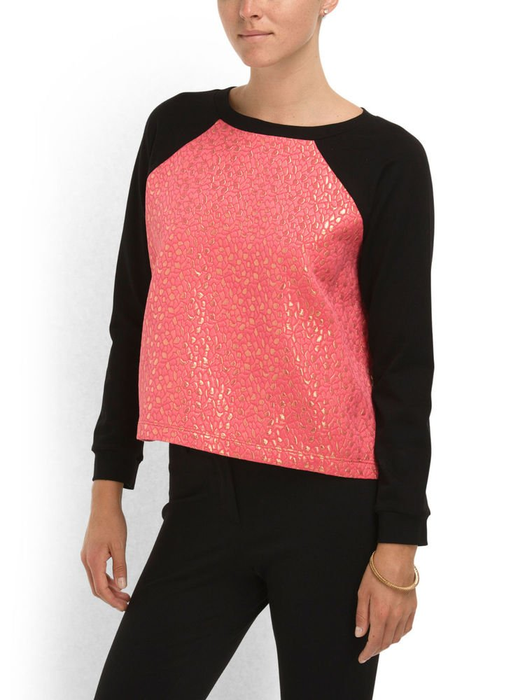 Cut25 Yigal Azrouel Metallic Jacquard Sweatshirt Top in Melon/Red-NWT-RP: $180+