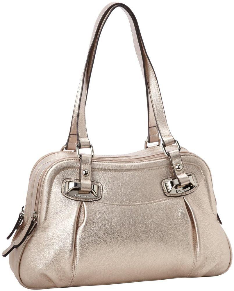 B. Makowsky Halia Metallic Leather Triple Zip Satchel/Shoulder Bag-NWT-SRP: $268