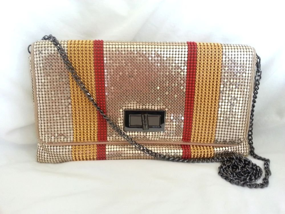 BCBG MAXAZRIA Blake Striped Metal Mesh Clutch/Crossbody in Saffron-NWT-SRP: $138