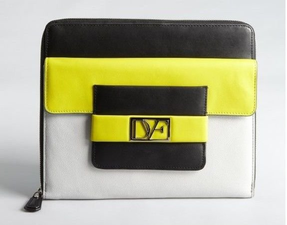 Diane Von Furstenberg Metro Leather iPad Case in Citrine/Black-NWT-SRP: $295