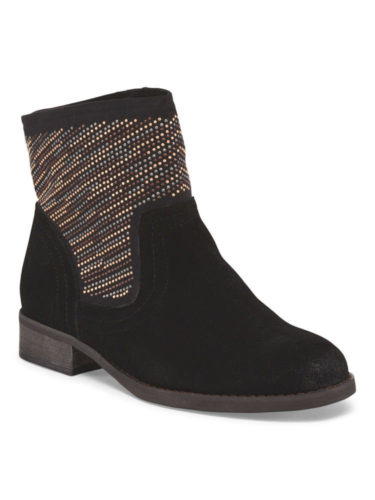Carlos By Carlos Santana Alton Studded Suede Bootie-in Black or Brown-RP: $110