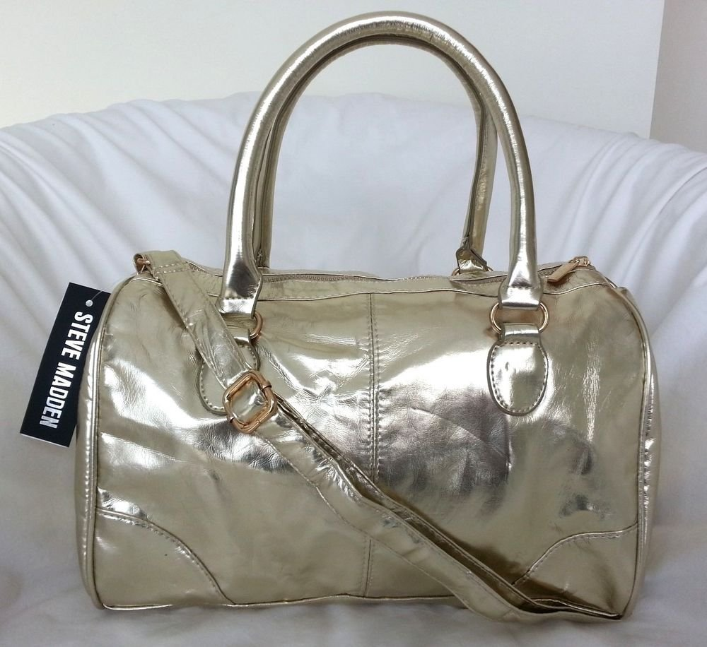 Steve Madden BREFLECTIVE Satchel/Small Duffle Bag in Gold or Silver-NWT-RP: $78