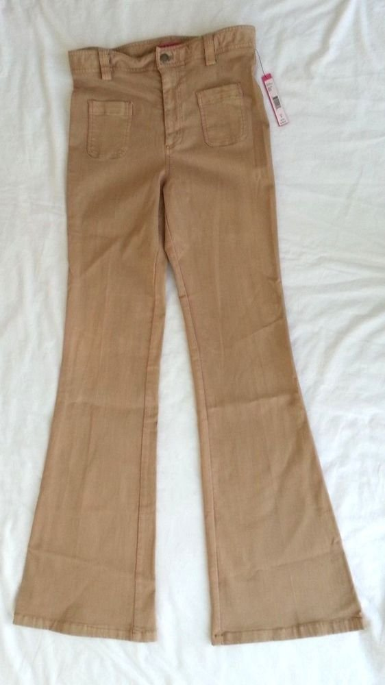 Alice & Olivia High Waist Bell Bottom Jeans in Beige Size 8-NWT-RP:$198