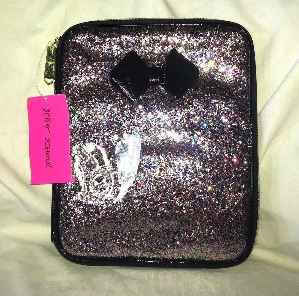 Betsey Johnson Zip Around Ereader/iPad/Kindle Multicolor Glitter Case-NWT-SRP$48