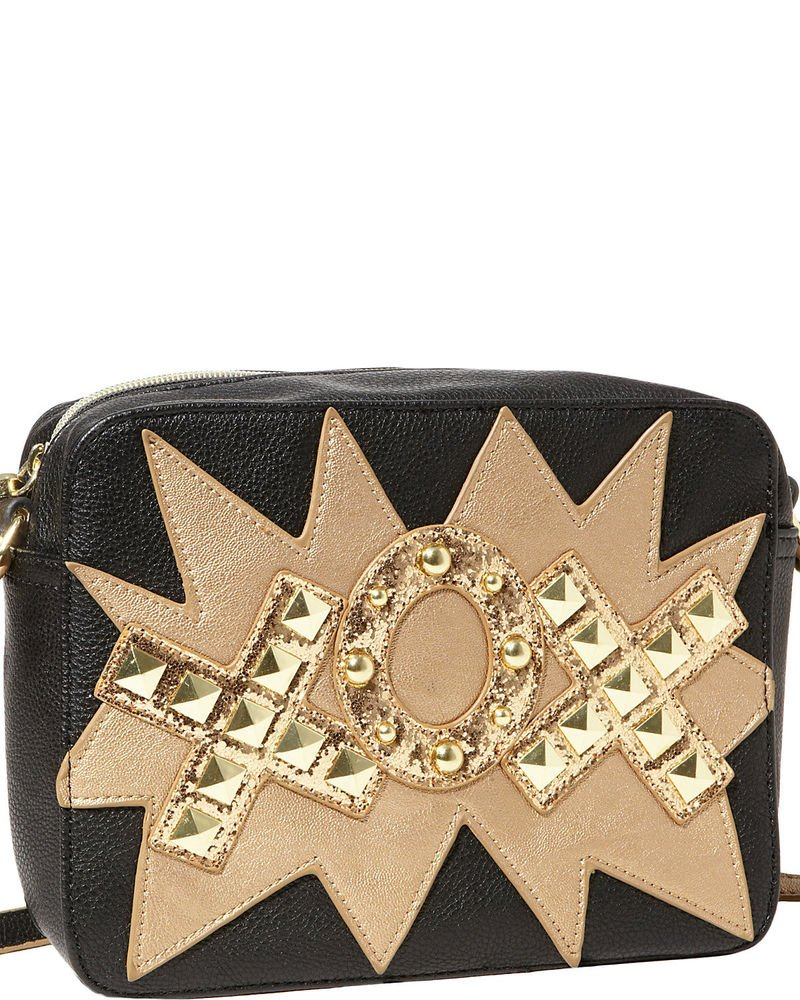 Betsey Johnson Handbags TTYL-XOX Studded Crossbody Bag in Black-NWT-RP: $78