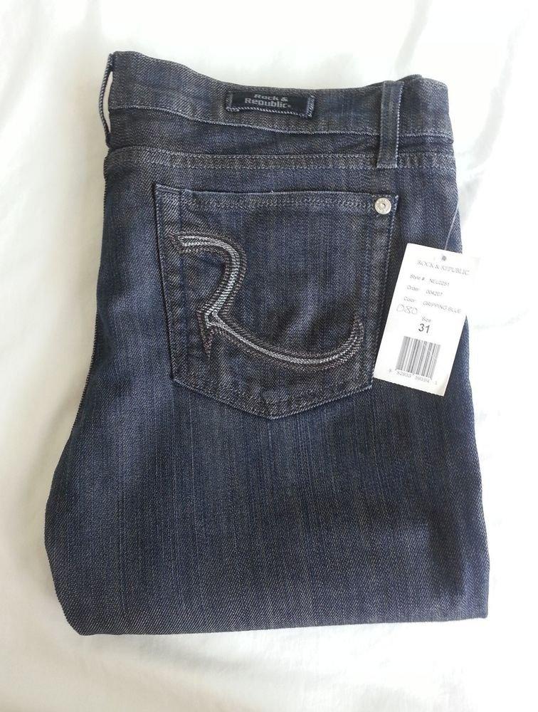 Women's Rock & Republic Costello Low-Rise Jeans in Gripping Blue Sz 31 SRP:$180