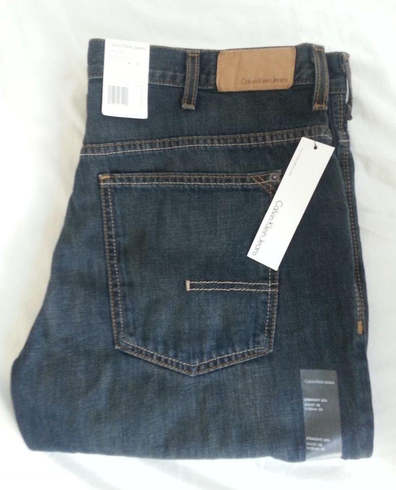 Men's Calvin Klein Denim Jeans Straight Cut 38 x 30 Dark Wash NWT