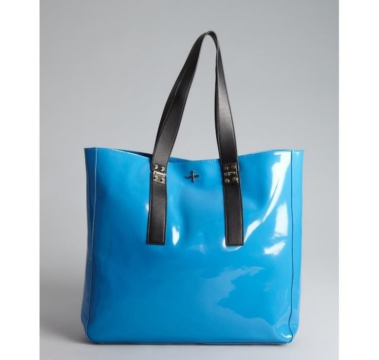 Pour La Victoire Pacific Blue Leather Melee East/West Tote Bag NWT-SRP: $295.00