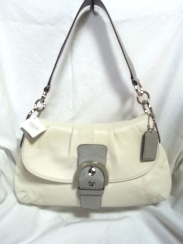 Authentic COACH Soho Soft Leather Hobo Shoulder Bag in White-NWT-SRP: $378