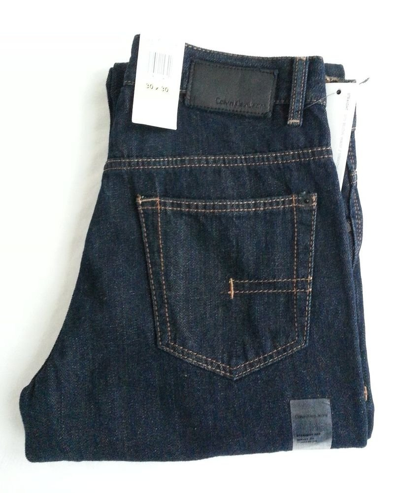 Men's Calvin Klein Denim Jeans Straight Cut 30 x 30 in Dark Wash NWT-RP: $59.50
