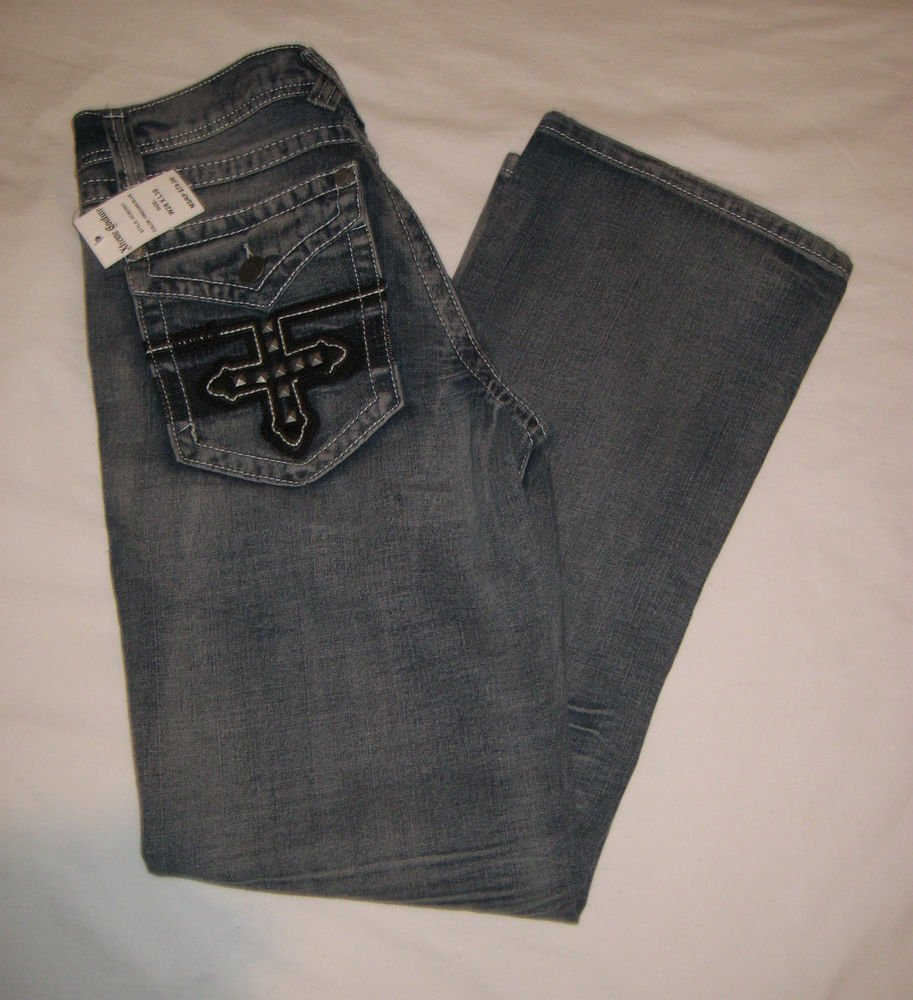 XTREME COUTURE-AFFLICTION Grecian Studded Cross Pocket JEANS MENS 28 x 30 NWT