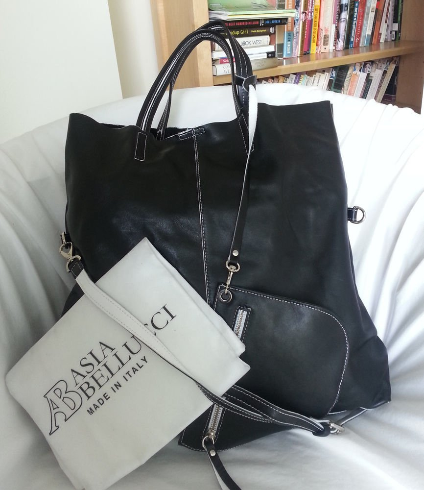 ASIA BELLUCCI Made in Italy Slouchy Leather Tote Bag in Black/White-NWT-SRP:$395