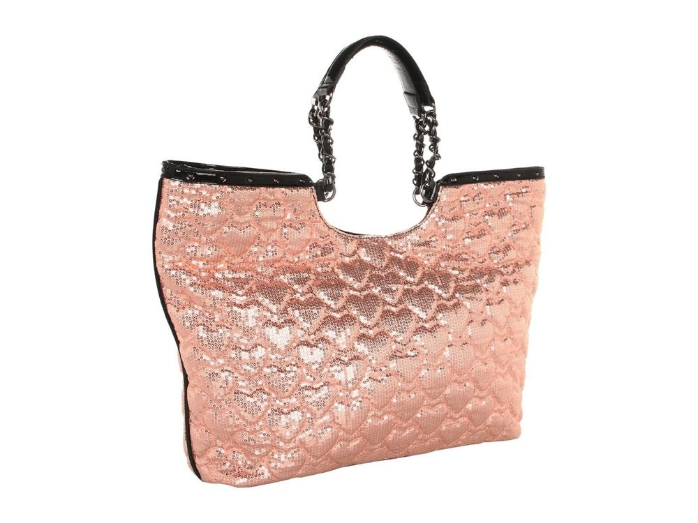 Betsey Johnson High Sequency Sequined Tote Bag in Blush, Black-NWT-SRP: $128.00