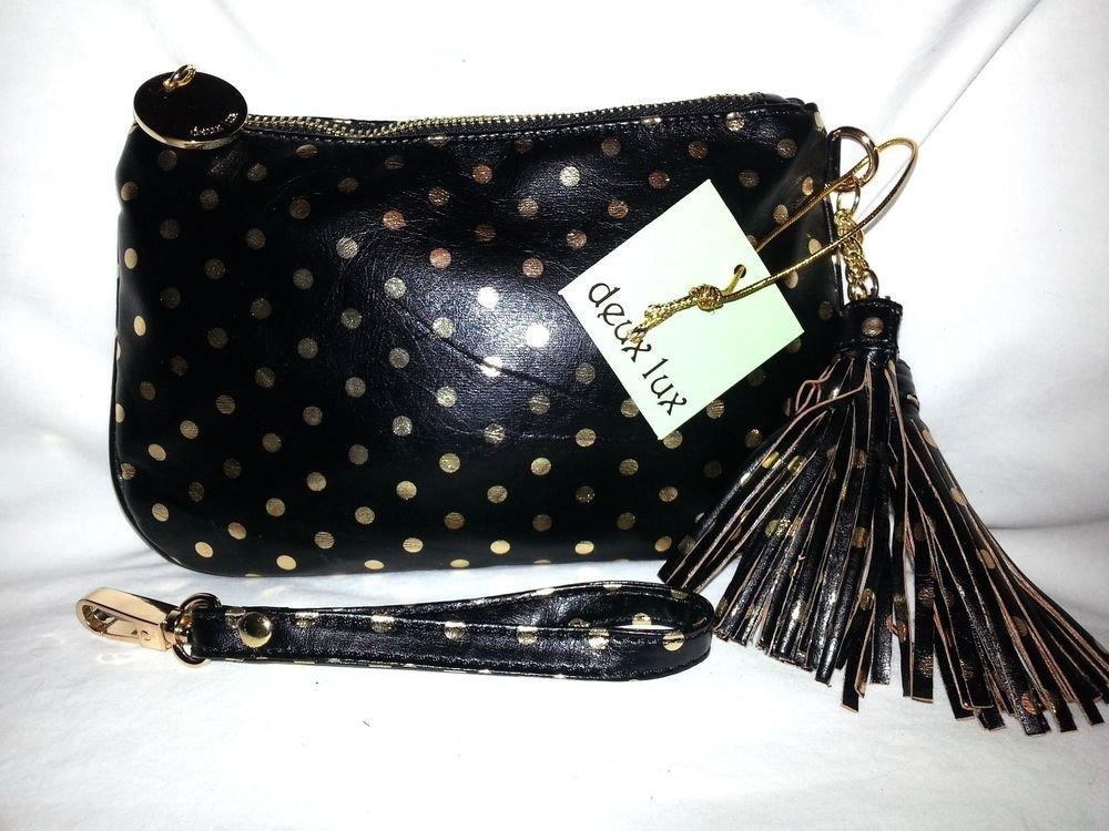 Deux Lux Handbag Gigi Polka Dot Wristlet Purse Bag Lux gold, Black and Gray-NWT
