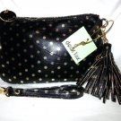 Deux Lux Handbag Gigi Polka Dot Wristlet Purse Bag Lux gold, Black and Gray-NWT