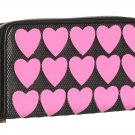 BETSEY JOHNSON WALLET PLASTIK HEARTS ZIP AROUND BLACK/PINK-NWT