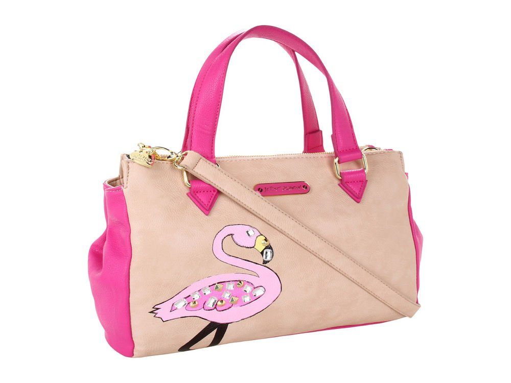 BETSEY JOHNSON HANDBAGS BJ-EWELED FLAMINGO SATCHEL BAG IN PINK-MSRP: $108-NWTT